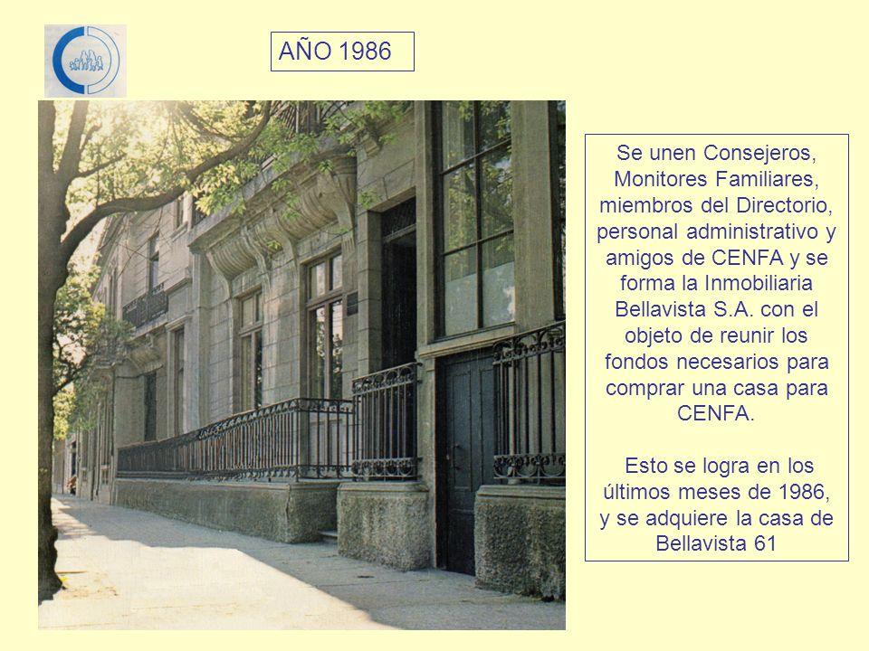 Se unen Consejeros, Monitores Familiares, miembros del Directorio, personal administrativo y amigos de CENFA y se forma la Inmobiliaria Bellavista S.A. con el objeto de reunir los fondos necesarios para comprar una casa para CENFA.