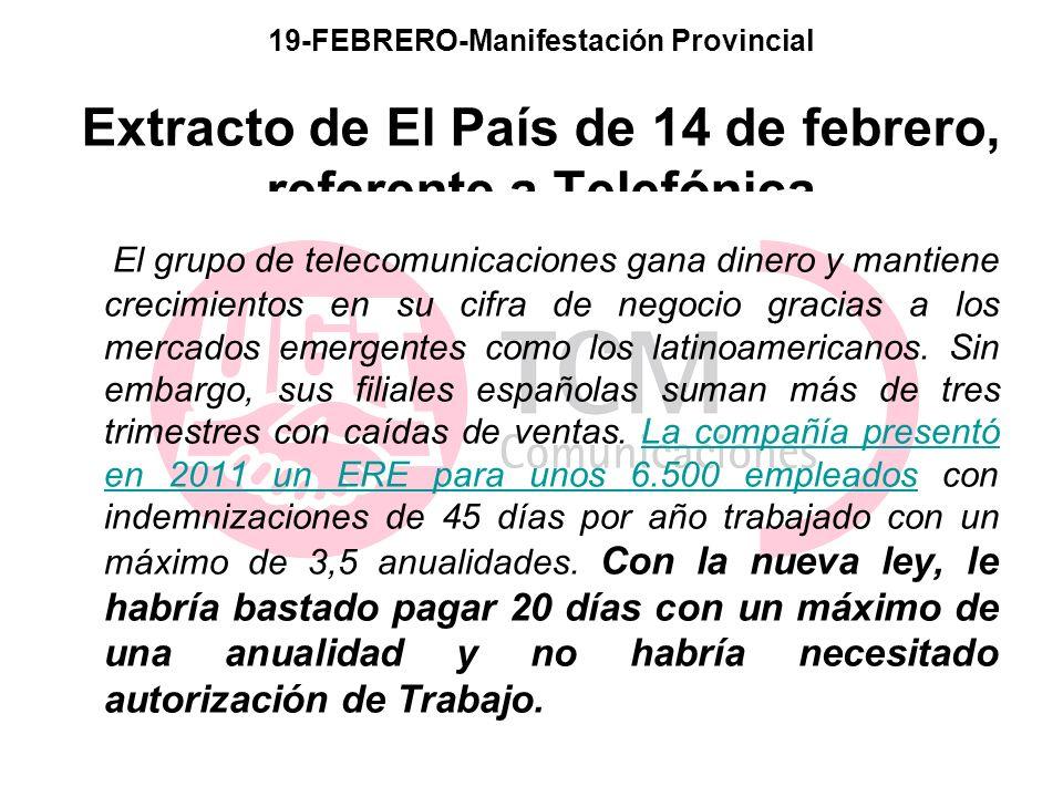 19-FEBRERO-Manifestación Provincial Extracto de El País de 14 de febrero, referente a Telefónica