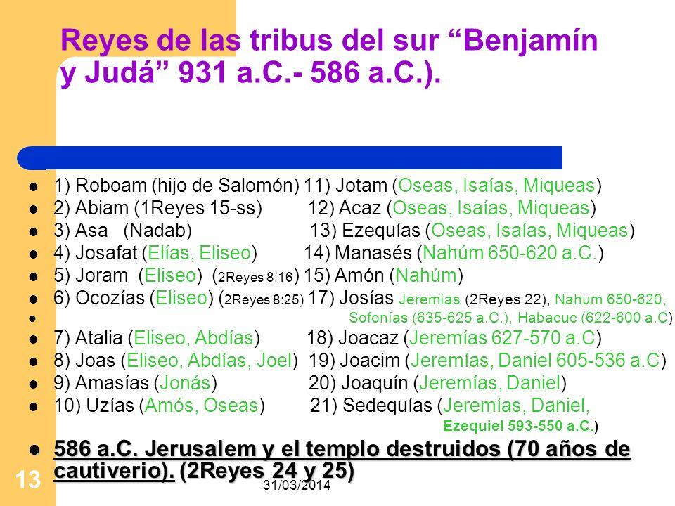 Reyes de las tribus del sur Benjamín y Judá 931 a.C.- 586 a.C.).
