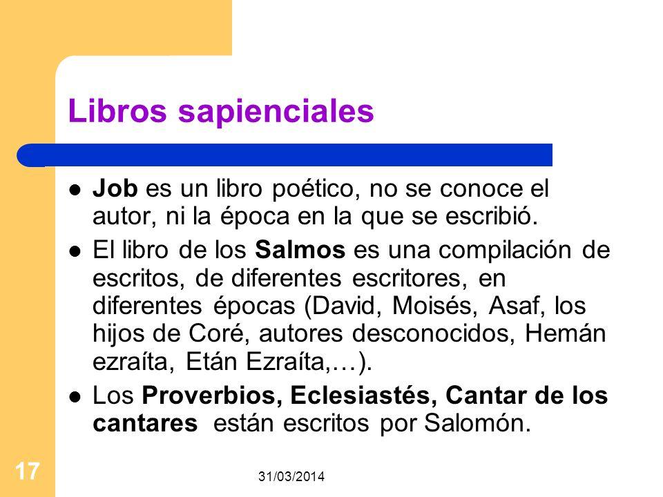 Libros sapienciales Job es un libro poético, no se conoce el autor, ni la época en la que se escribió.