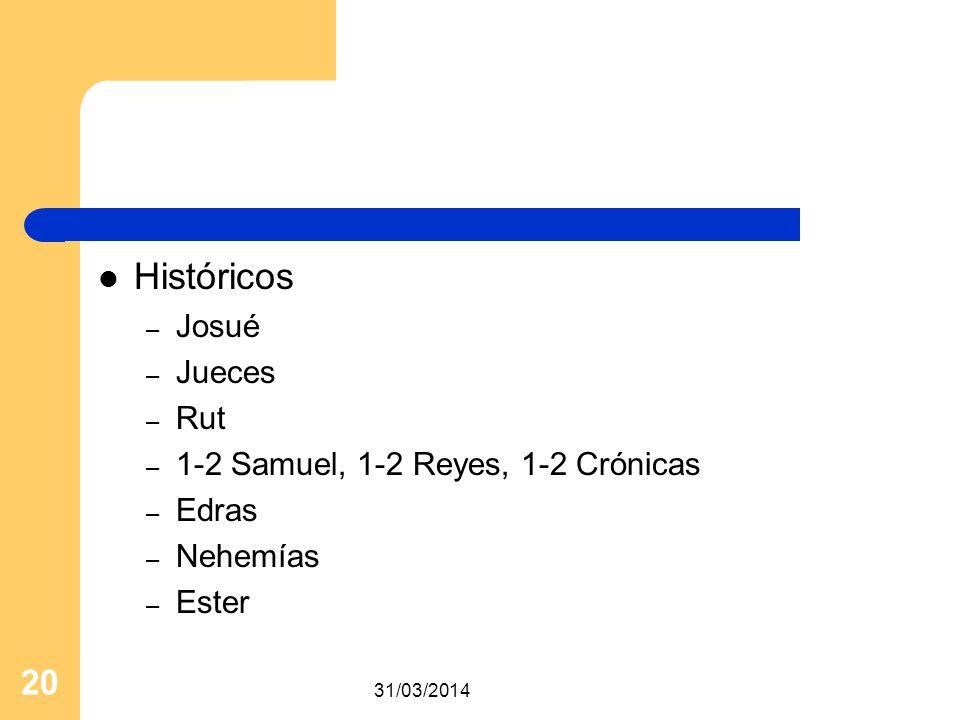 Históricos Josué Jueces Rut 1-2 Samuel, 1-2 Reyes, 1-2 Crónicas Edras