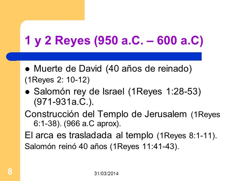 1 y 2 Reyes (950 a.C. – 600 a.C) Muerte de David (40 años de reinado)