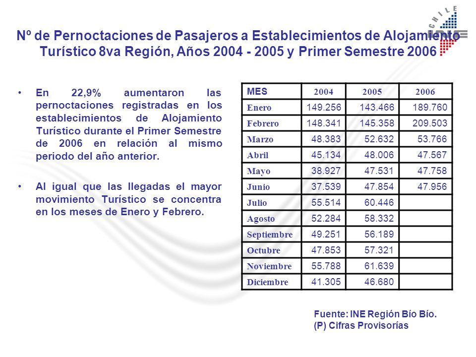 Nº de Pernoctaciones de Pasajeros a Establecimientos de Alojamiento Turístico 8va Región, Años 2004 - 2005 y Primer Semestre 2006