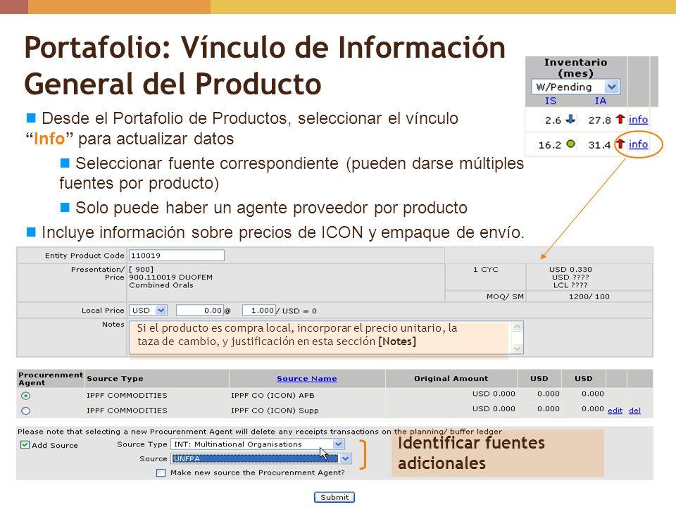Portafolio: Vínculo de Información General del Producto