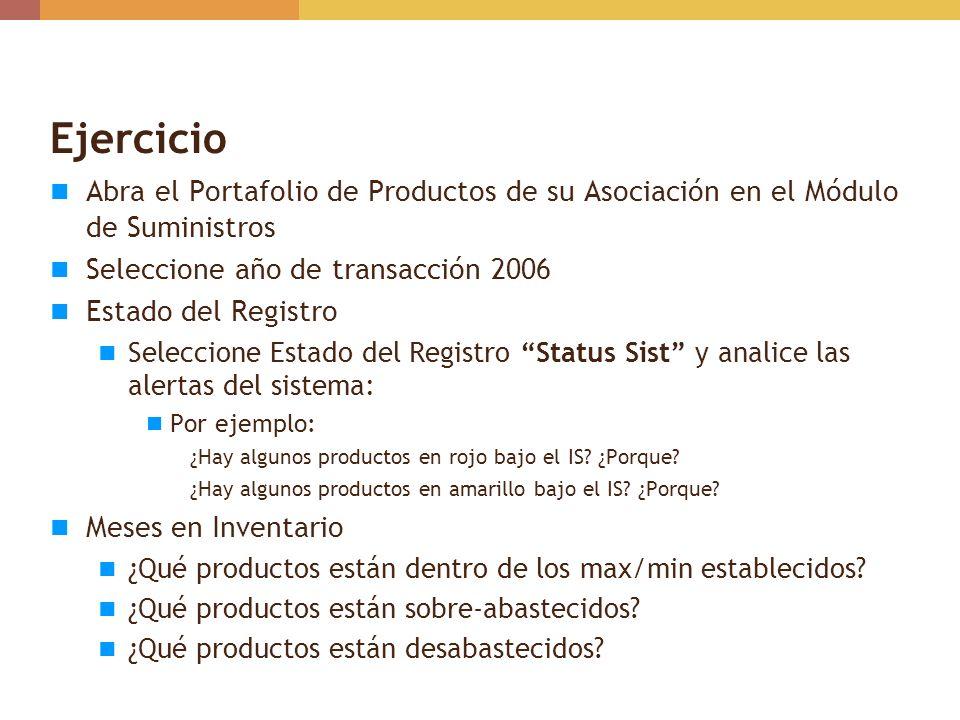 Ejercicio Abra el Portafolio de Productos de su Asociación en el Módulo de Suministros. Seleccione año de transacción 2006.