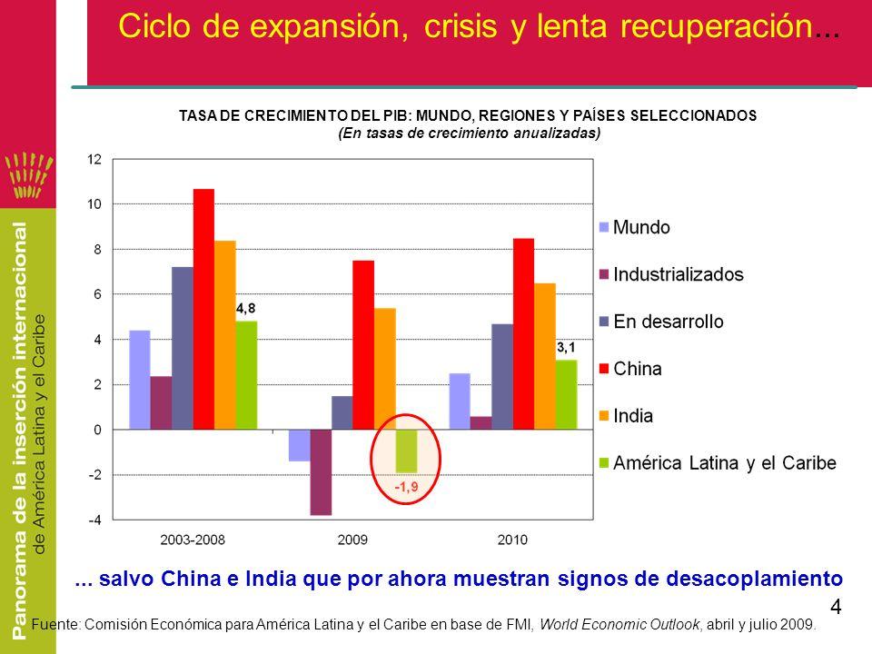 Ciclo de expansión, crisis y lenta recuperación...