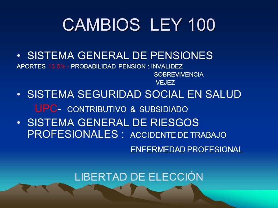 CAMBIOS LEY 100 SISTEMA GENERAL DE PENSIONES