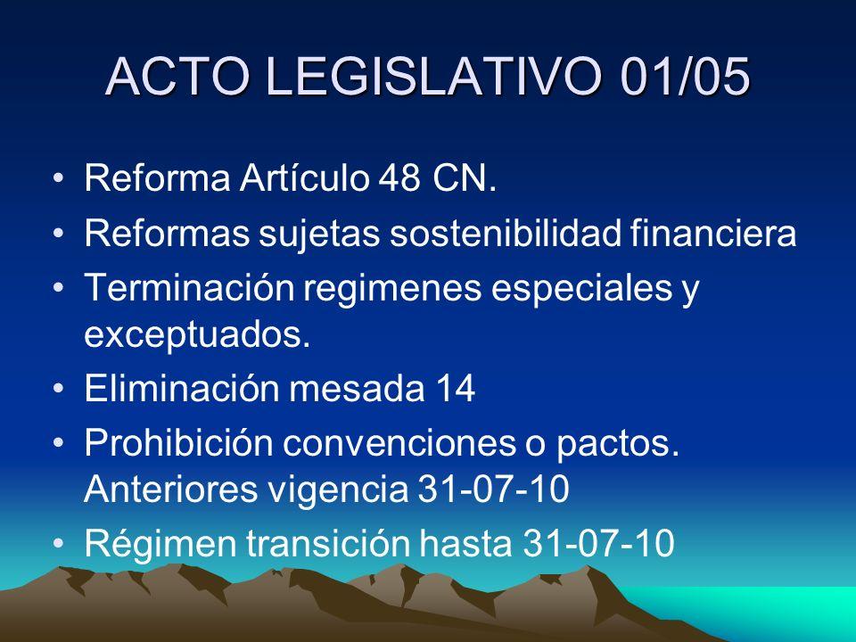 ACTO LEGISLATIVO 01/05 Reforma Artículo 48 CN.