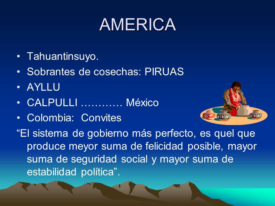 AMERICA Tahuantinsuyo. Sobrantes de cosechas: PIRUAS AYLLU
