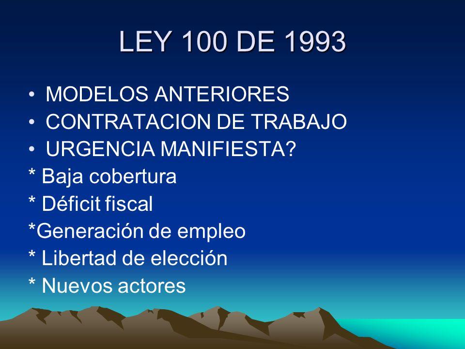 LEY 100 DE 1993 MODELOS ANTERIORES CONTRATACION DE TRABAJO