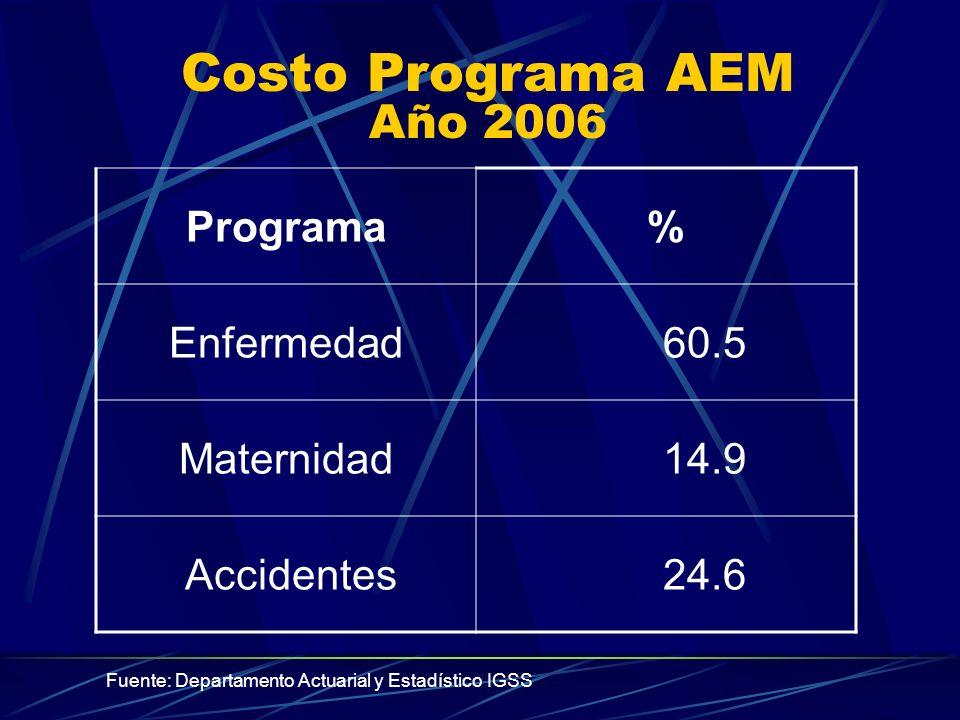 Costo Programa AEM Año 2006 Programa % Enfermedad 60.5 Maternidad 14.9