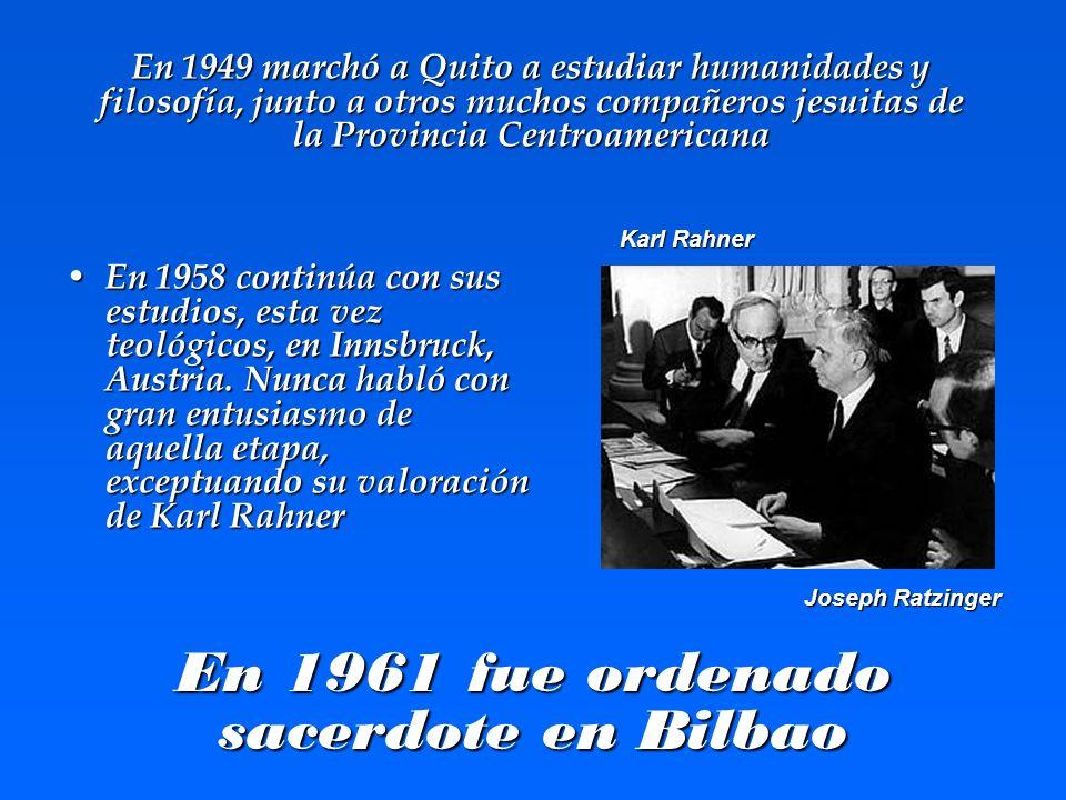 En 1961 fue ordenado sacerdote en Bilbao