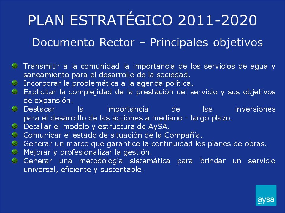 Documento Rector – Principales objetivos