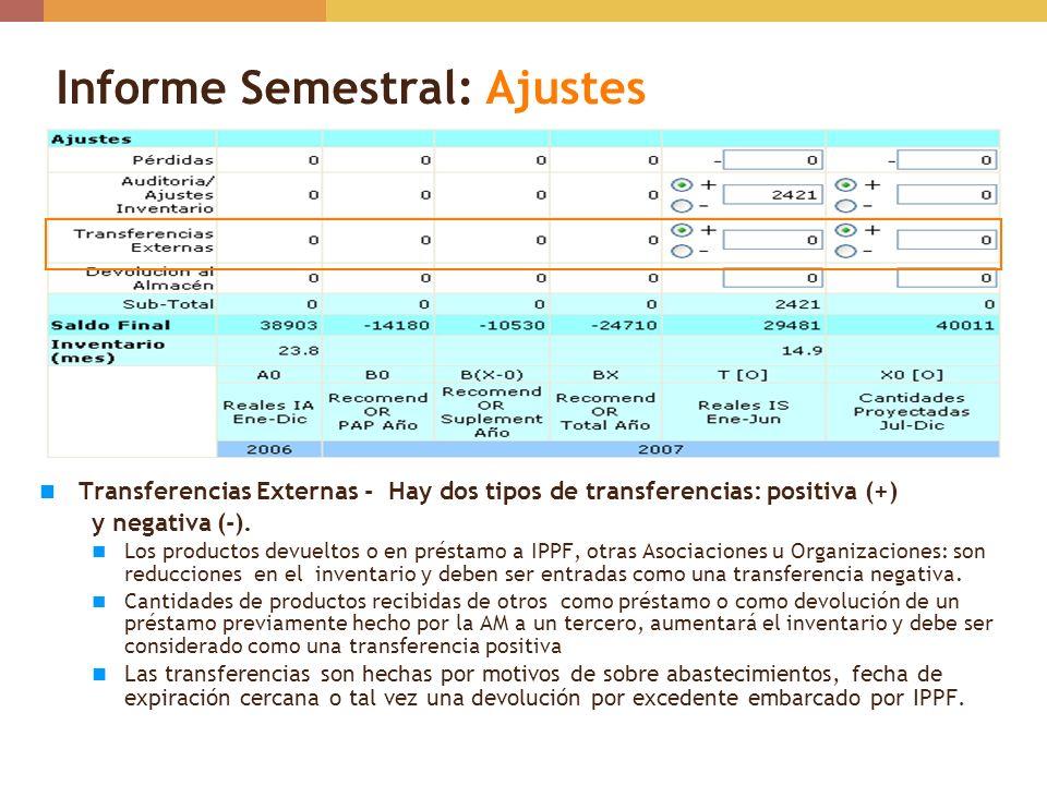 Informe Semestral: Ajustes