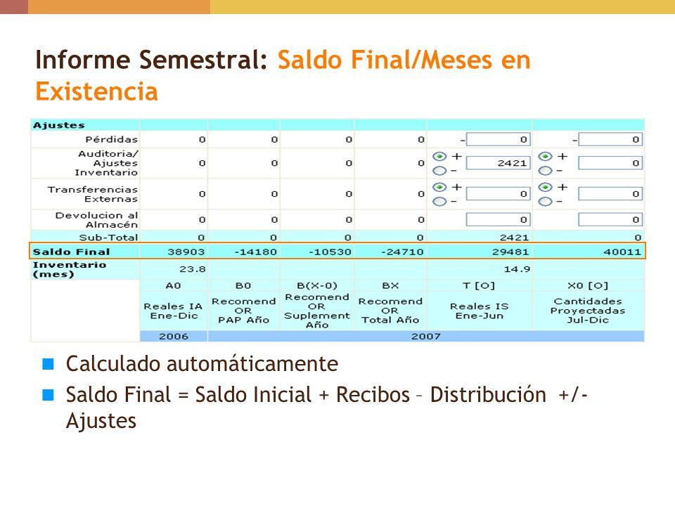 Informe Semestral: Saldo Final/Meses en Existencia