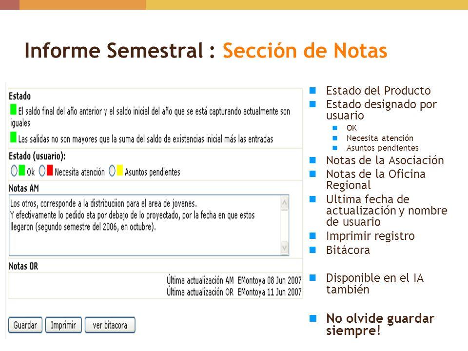 Informe Semestral : Sección de Notas
