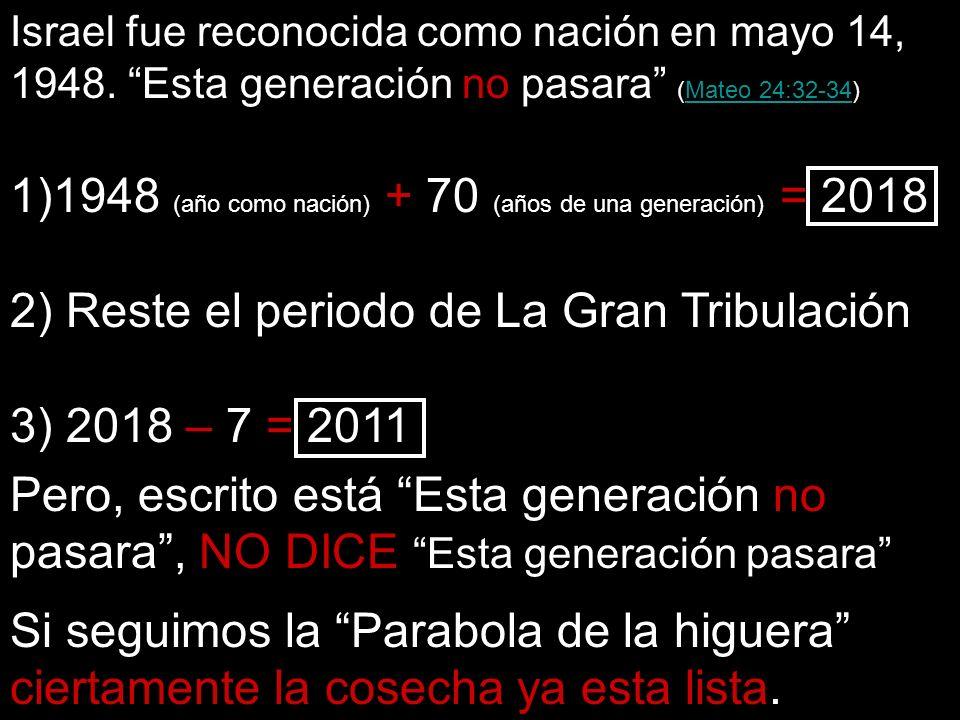 1948 (año como nación) + 70 (años de una generación) = 2018