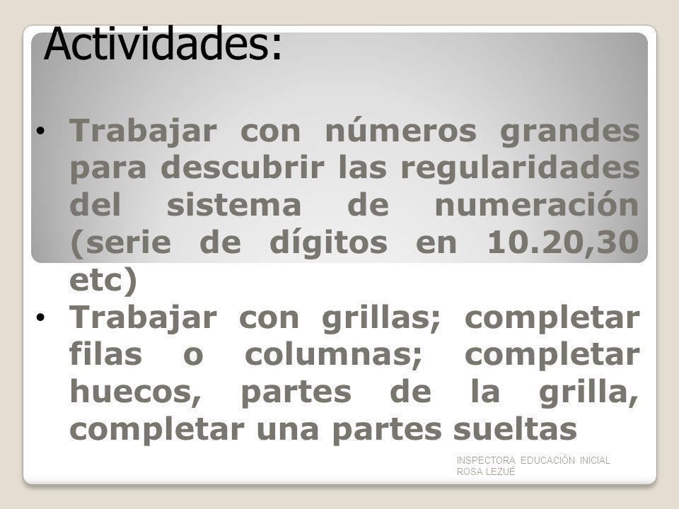 Actividades: Trabajar con números grandes para descubrir las regularidades del sistema de numeración (serie de dígitos en 10.20,30 etc)