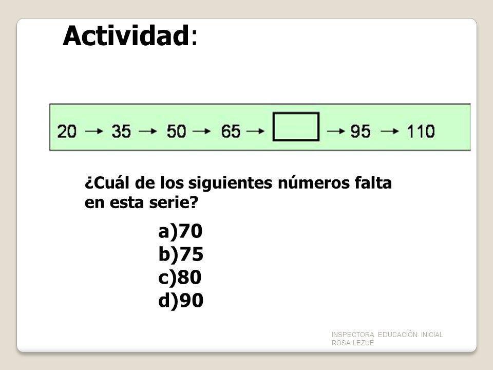 Actividad: ¿Cuál de los siguientes números falta en esta serie 70. 75. 80. 90. INSPECTORA EDUCACIÓN INICIAL ROSA LEZUÉ.