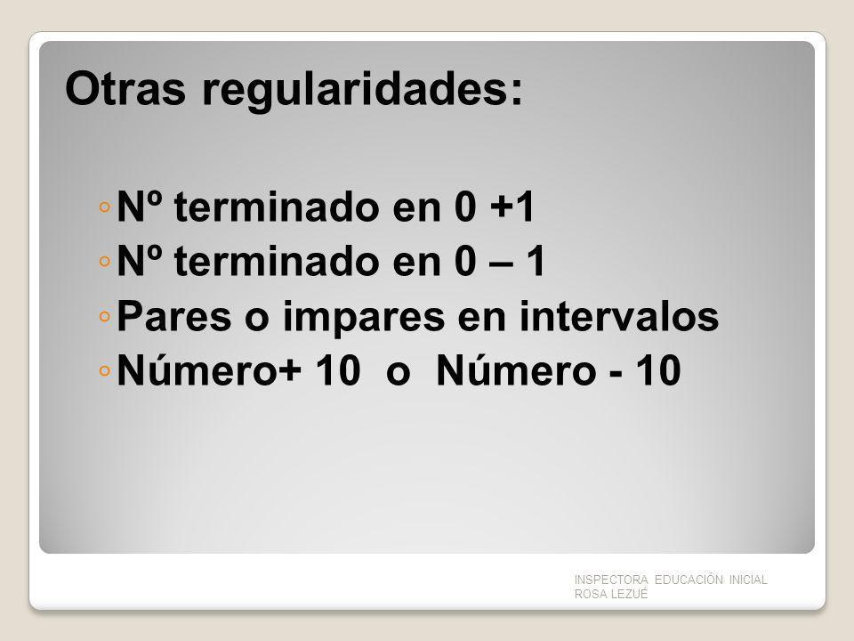Otras regularidades: Nº terminado en 0 +1 Nº terminado en 0 – 1