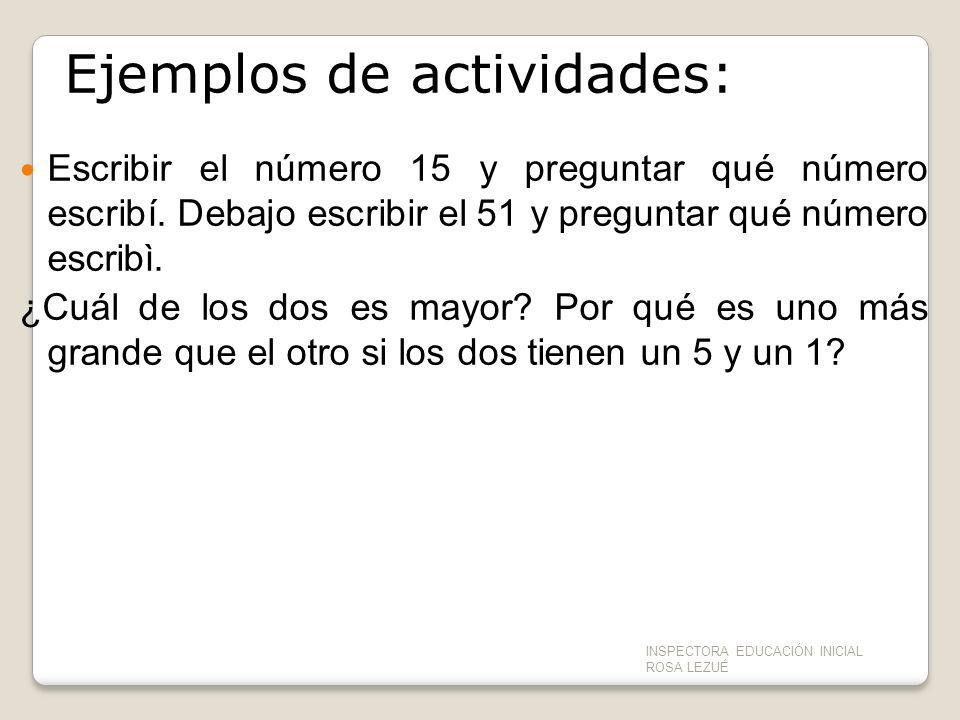 Ejemplos de actividades: