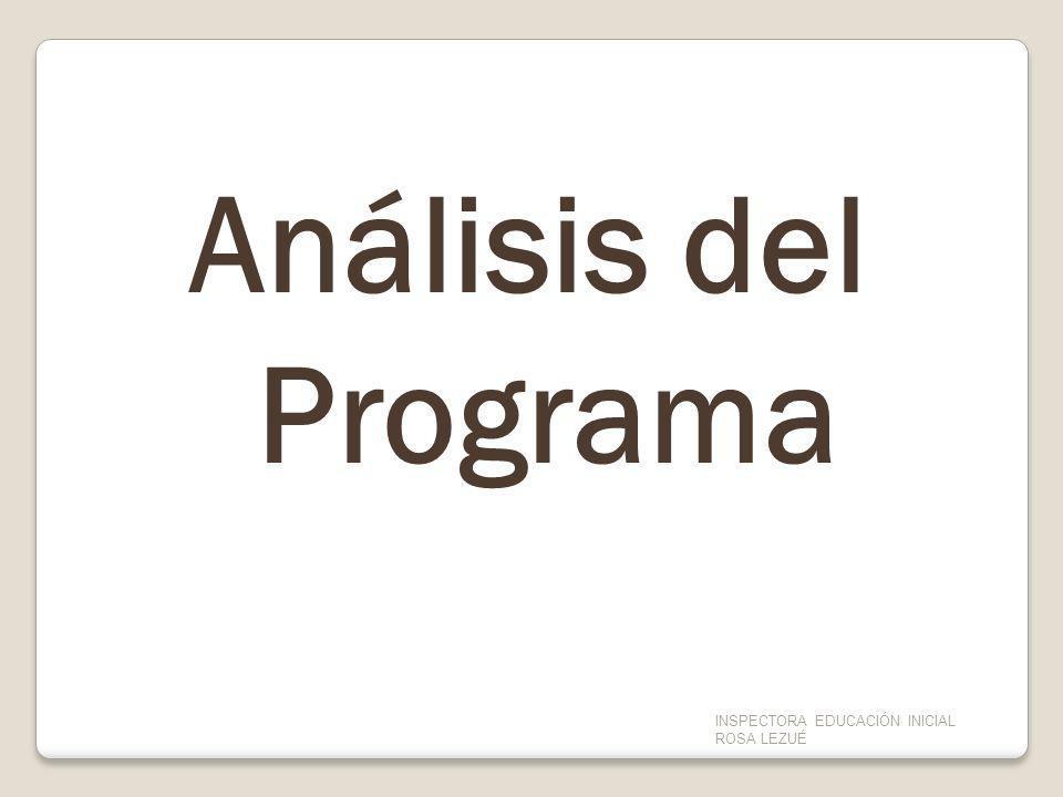 Análisis del Programa INSPECTORA EDUCACIÓN INICIAL ROSA LEZUÉ.