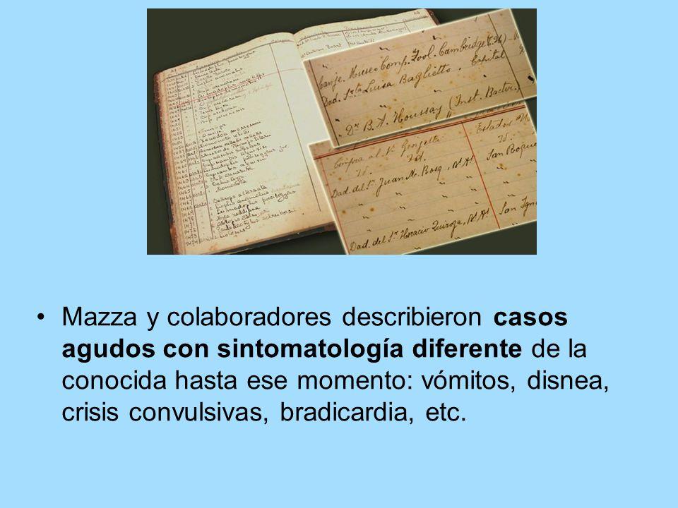 Mazza y colaboradores describieron casos agudos con sintomatología diferente de la conocida hasta ese momento: vómitos, disnea, crisis convulsivas, bradicardia, etc.