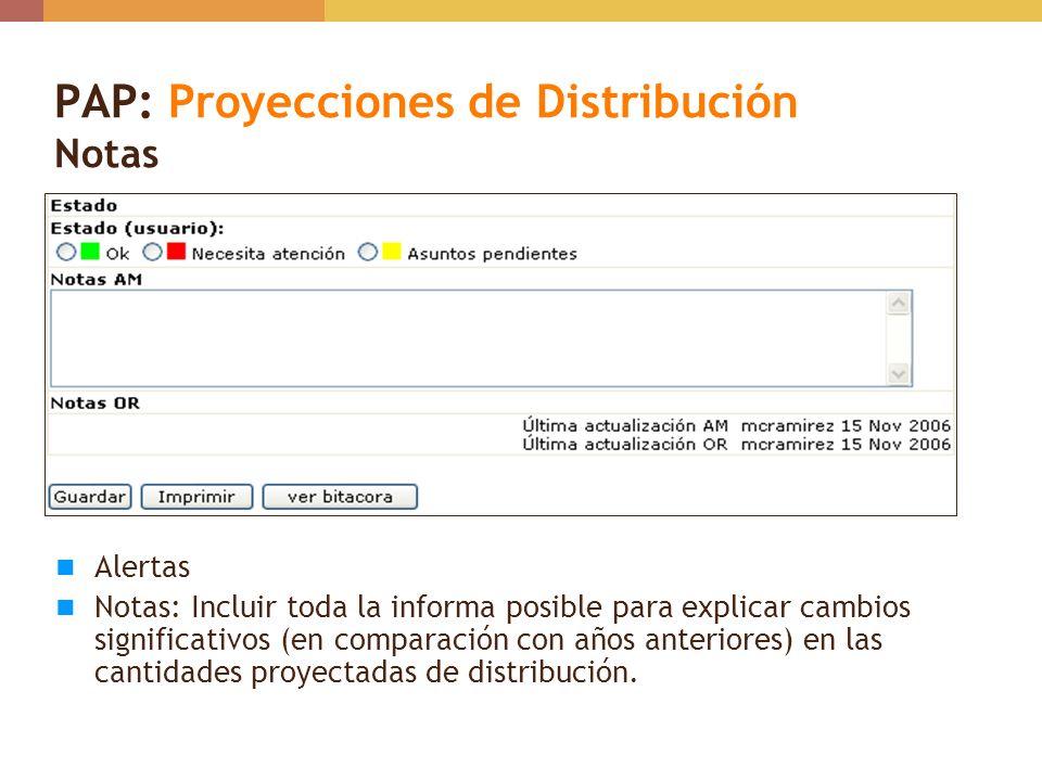 PAP: Proyecciones de Distribución Notas