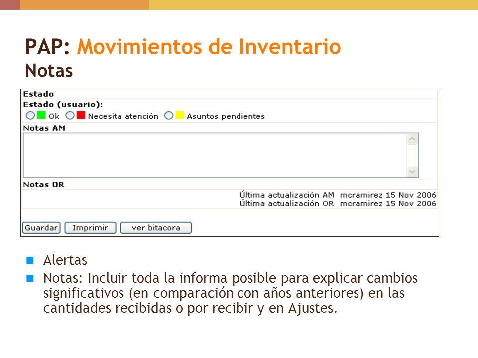 PAP: Movimientos de Inventario Notas