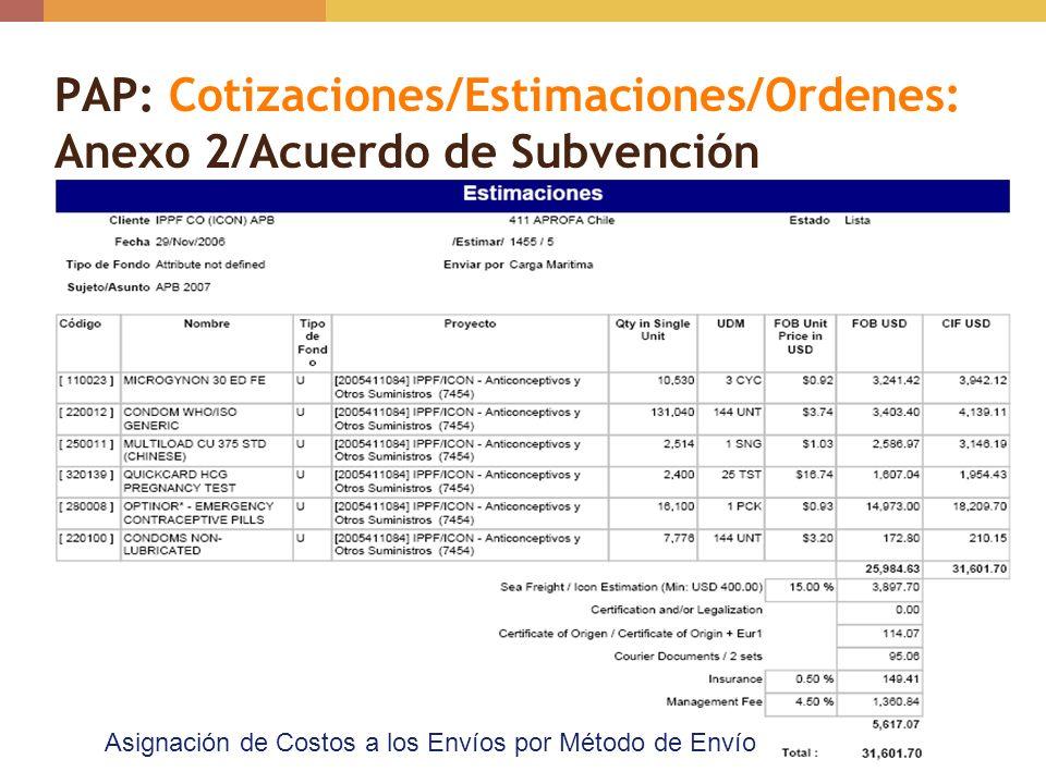 PAP: Cotizaciones/Estimaciones/Ordenes: Anexo 2/Acuerdo de Subvención
