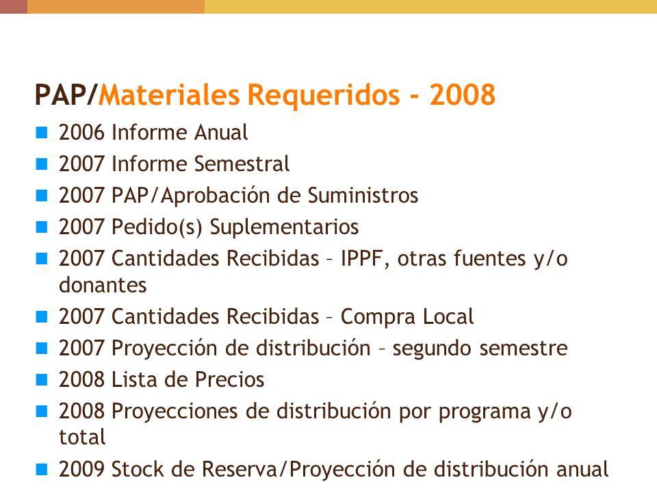 PAP/Materiales Requeridos - 2008