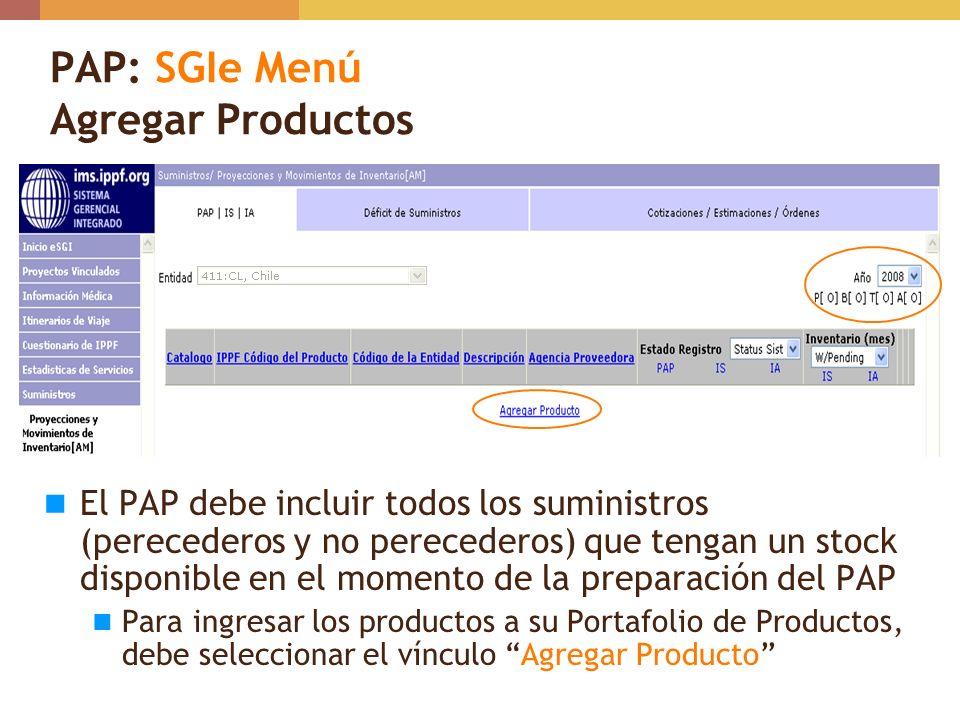 PAP: SGIe Menú Agregar Productos