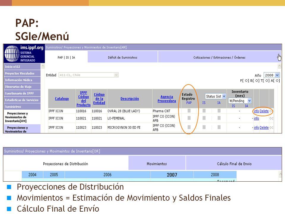 PAP: SGIe/Menú Proyecciones de Distribución