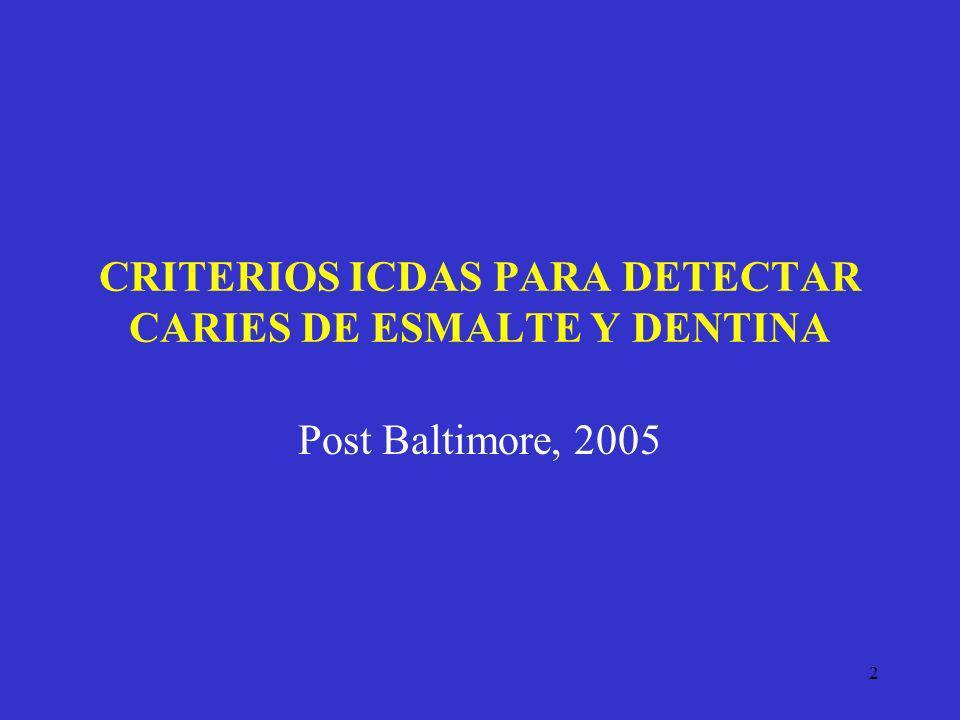 CRITERIOS ICDAS PARA DETECTAR CARIES DE ESMALTE Y DENTINA