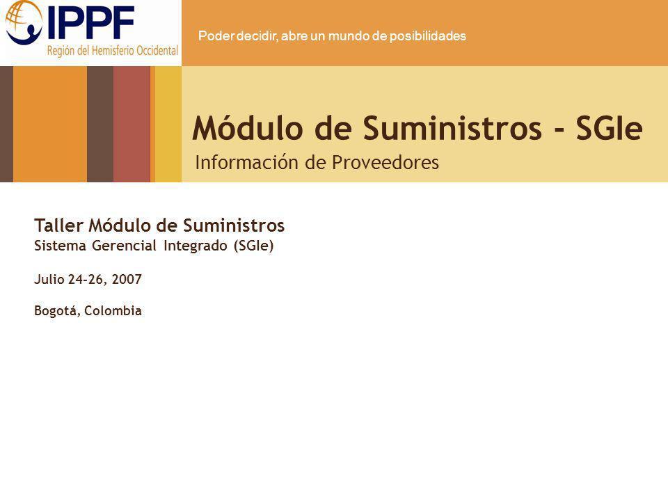 Módulo de Suministros - SGIe