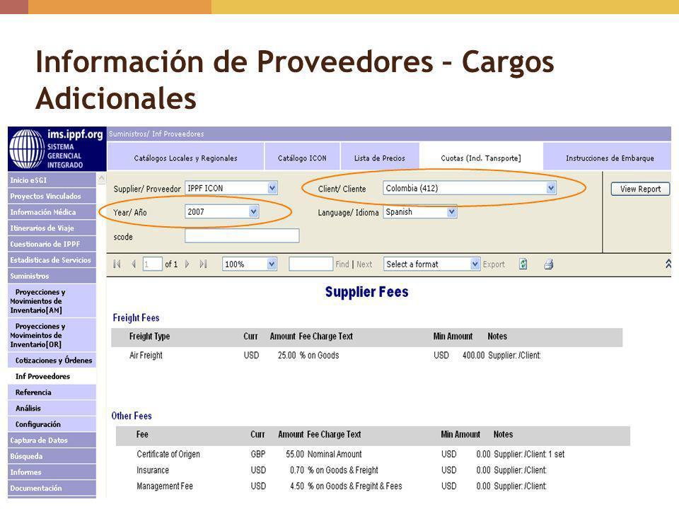 Información de Proveedores – Cargos Adicionales