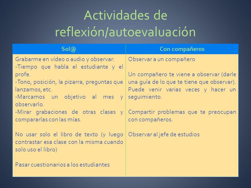 Actividades de reflexión/autoevaluación
