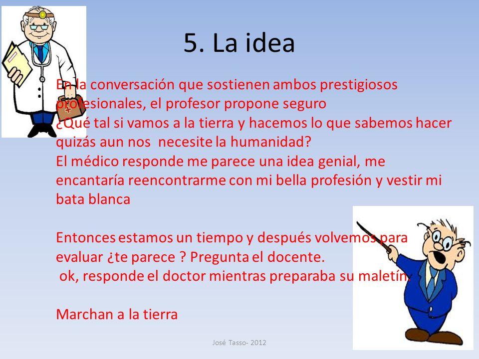 5. La idea En la conversación que sostienen ambos prestigiosos profesionales, el profesor propone seguro.