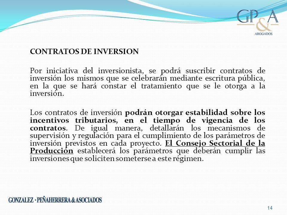 CONTRATOS DE INVERSION Por iniciativa del inversionista, se podrá suscribir contratos de inversión los mismos que se celebrarán mediante escritura pública, en la que se hará constar el tratamiento que se le otorga a la inversión.