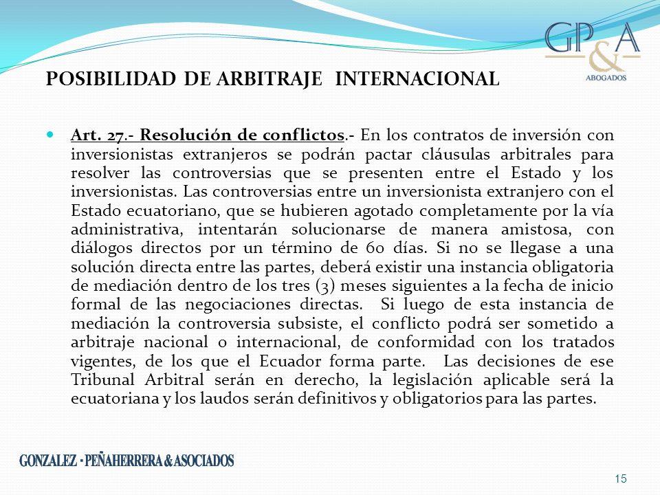 Posibilidad de Arbitraje Internacional