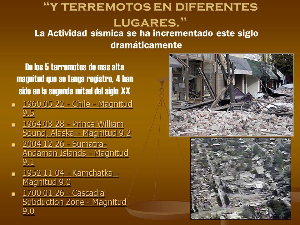 y terremotos en diferentes lugares.