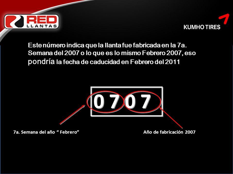 Este número indica que la llanta fue fabricada en la 7a