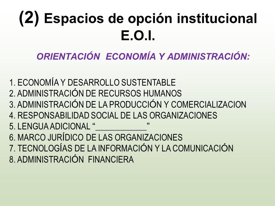 (2) Espacios de opción institucional E.O.I.
