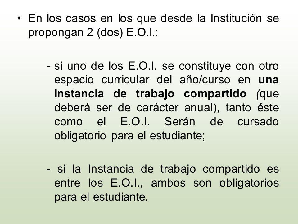 En los casos en los que desde la Institución se propongan 2 (dos) E. O