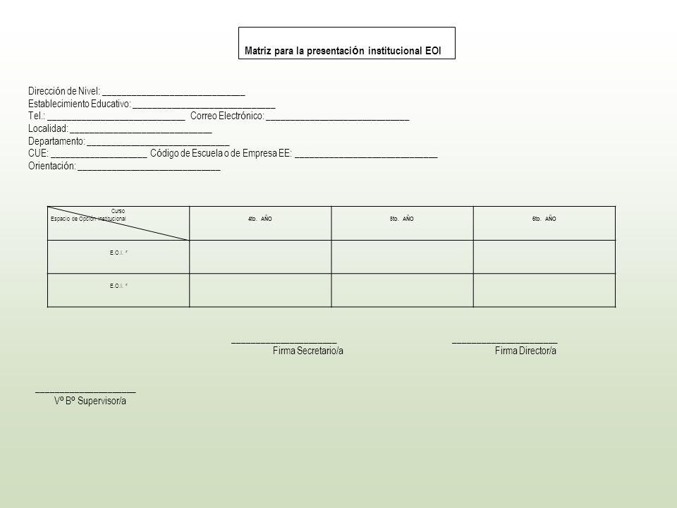 Matriz para la presentación institucional EOI