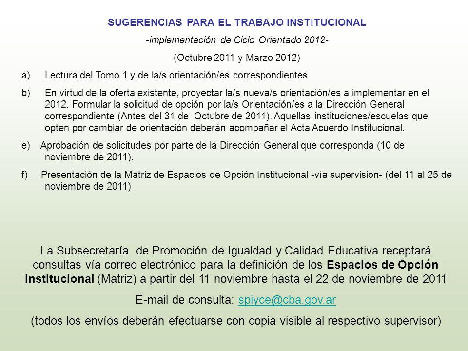 E-mail de consulta: spiyce@cba.gov.ar
