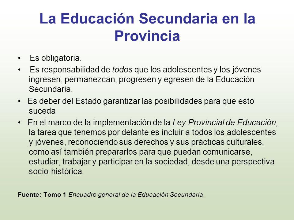 La Educación Secundaria en la Provincia