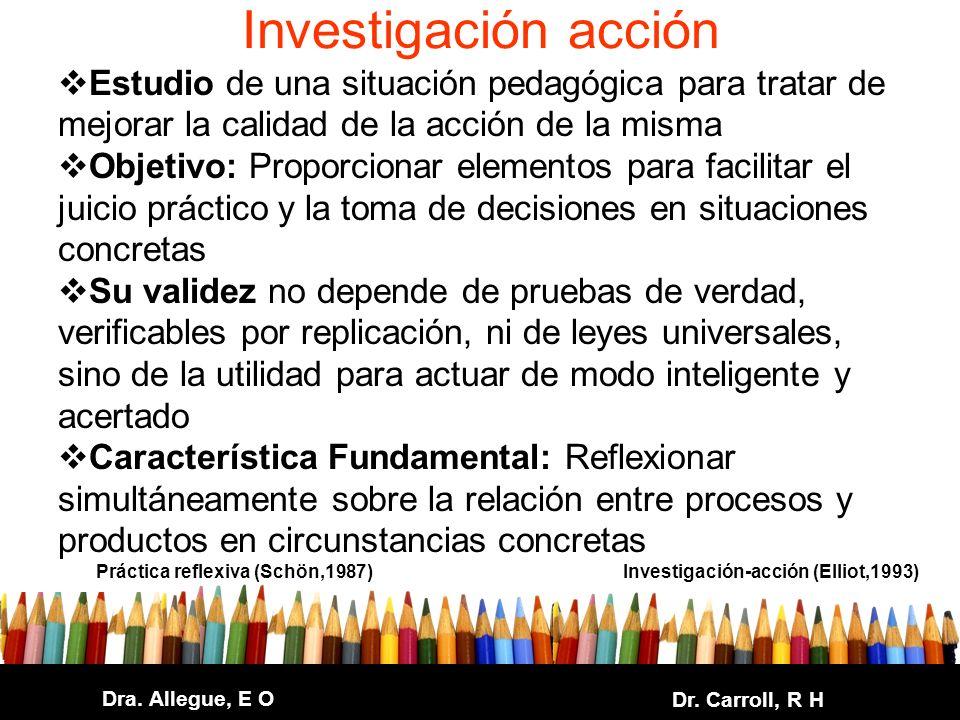 Investigación acción Estudio de una situación pedagógica para tratar de mejorar la calidad de la acción de la misma.