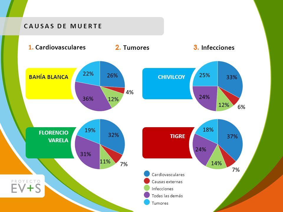 CAUSAS DE MUERTE 1. Cardiovasculares 2. Tumores 3. Infecciones