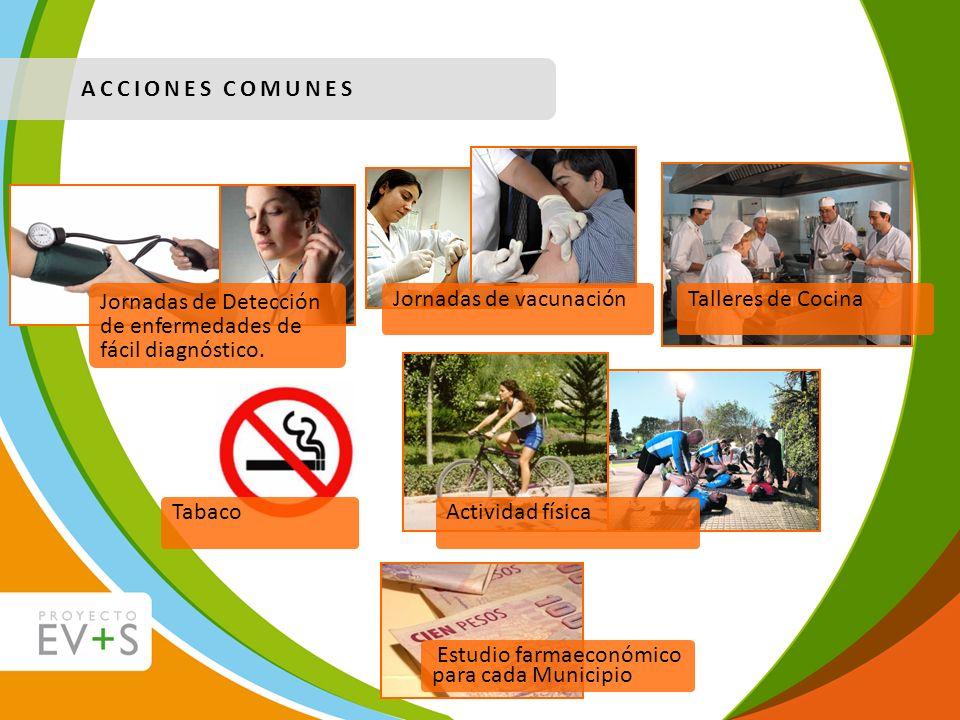 ACCIONES COMUNES Jornadas de Detección de enfermedades de fácil diagnóstico. Jornadas de vacunación.